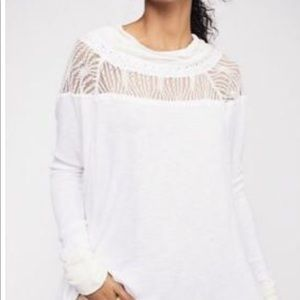 NWT Free People White Spring Valley Lace Top XS